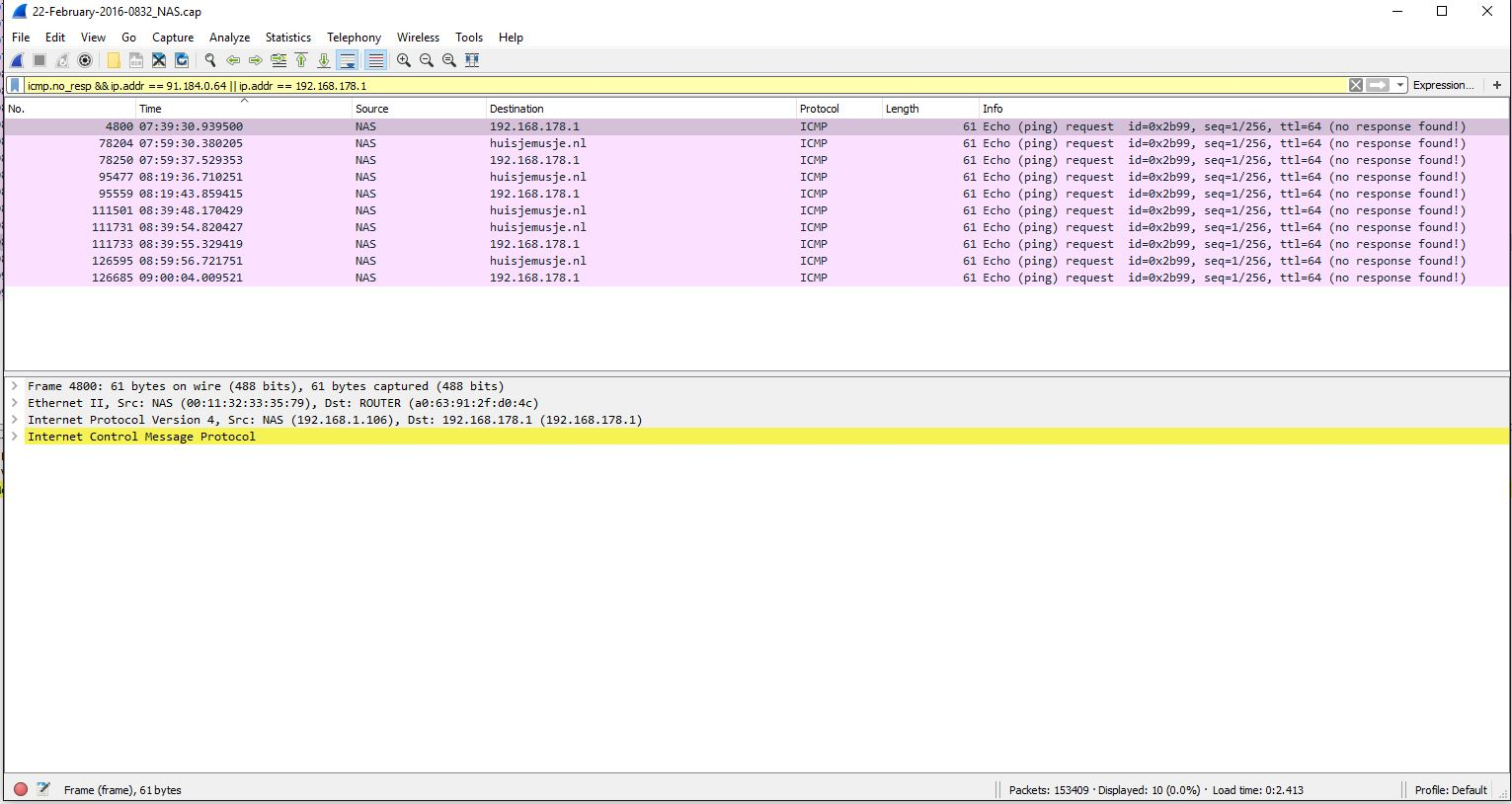 Ping test_Wireshark